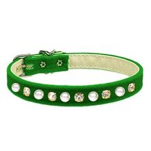 Pearl & Crystal Dog Collar - Green Velvet