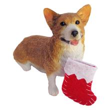 Pembroke Welsh Corgi with Stocking Christmas Ornament