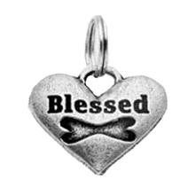 Pewter Dog Collar Charm: Blessed Bone Charm