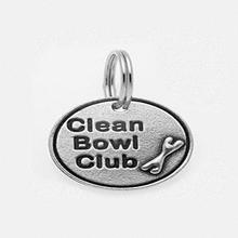 Pewter Dog Collar Charm: Clean Bowl Club