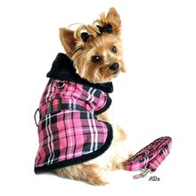 Pink Plaid Dog Coat Set with Leash