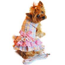 Ruffled Seersucker Designer Dog Harness Dress