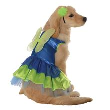Pixie Dog Dress with Wings - Green and Blue