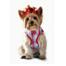 Plaid American River Choke Free Dog Harness - Red and Turquoise