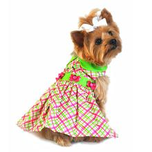 Ladybug Plaid Dog Harness Dress - Pink and Green