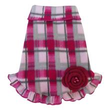 Plaid Dog Pullover Dress - Pink and Gray