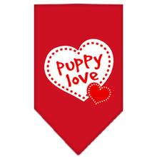 Puppy Love Screen Print Dog Bandana - Red