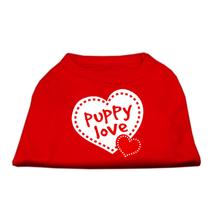 Puppy Love Screen Print Dog Shirt - Red