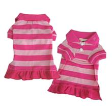 PuppyPAWer Stripe Polo Dog Dress by Dogo - Pink