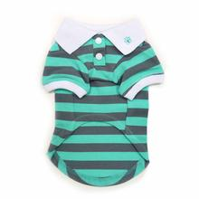 PuppyPAWer Stripe Dog Polo by Dogo - Gray and Green
