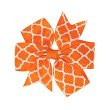 Quatrefoil Dog Bow - Orange
