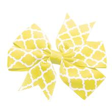 Quatrefoil Dog Bow - Yellow