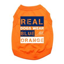 Real Dogs Wear Blue and Orange Dog Shirt