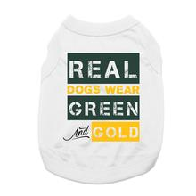 Real Dogs Wear Green and Gold Dog Shirt