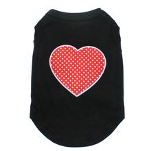 Red Swiss Dot Heart Dog Shirt - Black