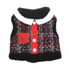 Red Tweed Pocket Minky Plush Dog Harness and Leash