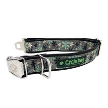Retro Flowers Metal Latch Dog Collar by Cycle Dog - Mint