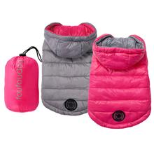 Reversible Puffer Dog Coat with Travel Pouch - Pink/Gray