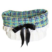 Reversible Snuggle Bugs Pet Bed, Bag, and Car Seat - Aqua Plaid