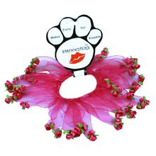 Rose Smoocher Pet Scrunchie - Bright Pink with Bright Pink Roses