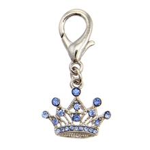 Royal Crown D-Ring Pet Collar Charm by FouFou Dog - Blue