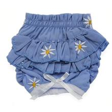 Ruffled Denim and Daisy Dog Panties - Soft Blue