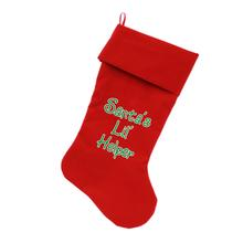 Santa's Lil Helper Velvet Dog Stocking - Red
