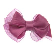Satin Dog Hair Bow with Alligator Clips - Colonial Rose
