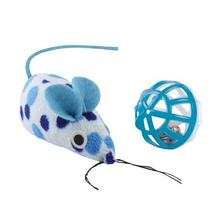Savvy Tabby Polka Dot Mouse and Ball - Blue