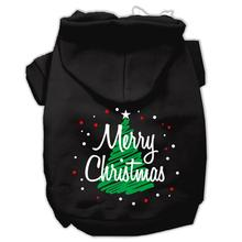Scribbled Merry Christmas Dog Hoodie - Black