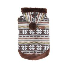 Snowball Dog Sweater Hoodie by Puppia - Brown