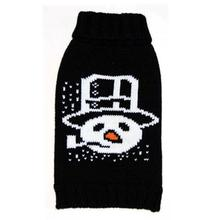 Snowman Pipe Dog Sweater - Black