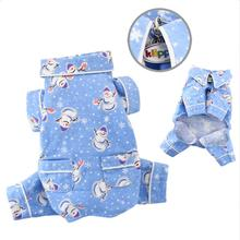 Snowmen and Snowflakes Flannel Dog Pajamas by Klippo