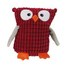 Soft Spotted Owl Plush Dog Toy - Red