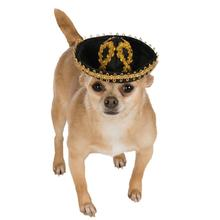 Sombrero Dog Hat by Rubies - Black/Gold