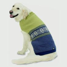 Stormy's Snowflake Fair Isle Dog Sweater - Green and Navy