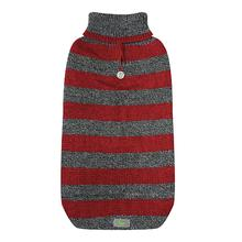 Striped Mock Neck Dog Sweater by Go Fresh Pet - Scooter Red