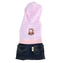 Striped Monkey Logo Dog Dress - Pink