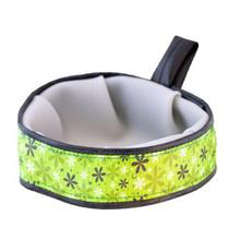 Trail Buddy Portable Dog Bowl by Cycle Dog - Apple Green Retro Flowers
