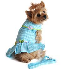 Turquoise Gingham Garden Designer Dog Harness Dress