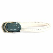 Twisted Tubular Italian Leather Dog Collar - White & Blue