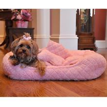 Ultra Soft Pink Faux Fur Plush Diamond Quilt Pet Bed with Bone and Blanket