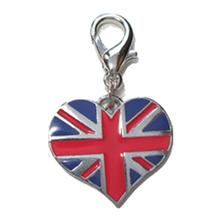 Union Jack Heart Dog Collar Charm