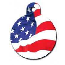 USA Flag Engravable Pet I.D. Tag - Large Circle