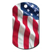 USA Flag Engravable Pet I.D. Tag - Large Military Tag