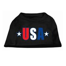 USA Star Screen Print Dog Tank - Black