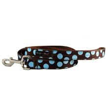 WaLk-e-Woo Blue Dot on Brown Dog Leash