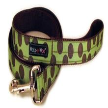 WaLk-e-Woo Brown Dot on Moss Green Dog Leash