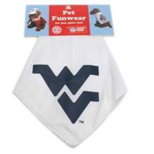 West Virginia Mountaineers Dog Bandana - White with Blue WV