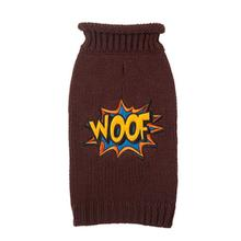 Woof Comic Dog Sweater - Brown